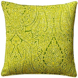 Jiti Paisley Green Outdoor Throw Pillow, 20 by 20
