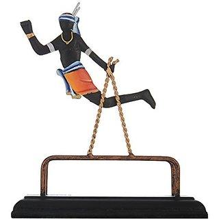 Kapasi Handicrafts Cast Iron Playing Boy Indian Art Showpieces - (16 x 7 x 18 cm, Black)