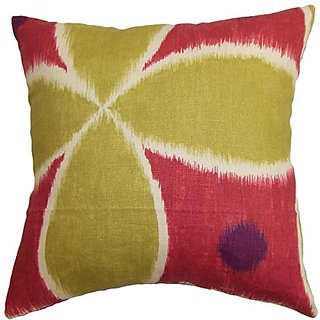 The Pillow Collection Lenis Ikat Pillow, Pink Green