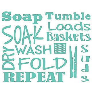 Wall Decor Plus More WDPM3728 Laundry Room Wall Decal Letters, Soak, Wash, Dry, Fold - Vinyl Stickers, Mint Green,, 23x1