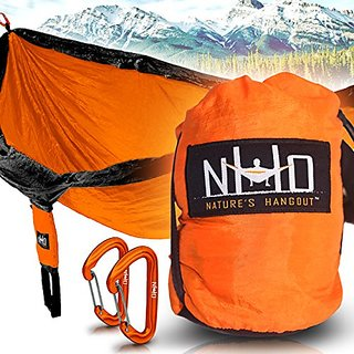 Premium Camping Hammock - Large Double Size, Portable & Lightweight. Aluminum Wiregate Carabiners Included. Ultralight R