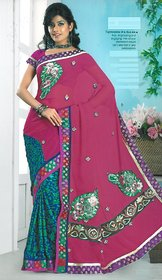 karacart Multicolor Georgette Graphic Print Saree With Blouse