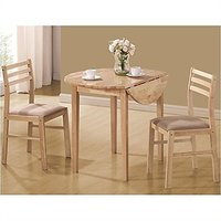 Coaster 3pc Dinette Table And Chairs Set In Natural Finish
