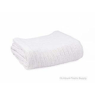 Linteum Textile 100% Cotton Open-Cell Weave HOSPITAL THERMAL BLANKET 66x90 Inch. White