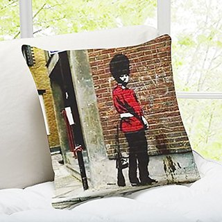 iLeesh Banky Art Throw Pillow, Pissing Soldier