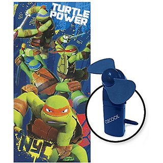 2 Pc Set Ninja Turtle Beach Towel with Blue Carabiner Fan