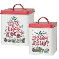 Now Designs L19015 Storage Tins, Jolly Christmas, White, Set Of 2