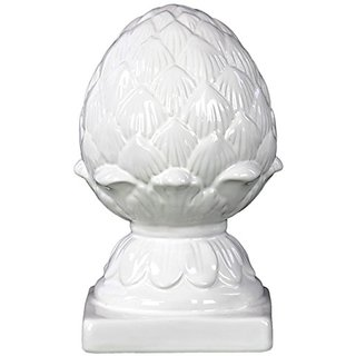 Urban Trends Ceramic Artichoke on a Platform, Glossy White