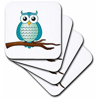 3dRose cst_165564_3 Aqua Wise Owl-Ceramic Tile Coasters, Set of 4
