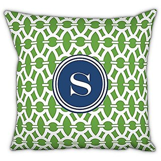 Whitney English Trellis Square Pillow with Single Initial, X, Multicolor