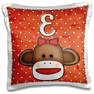 3dRose pc_102808_1 Cute Sock Monkey Girl Initial Letter E-Pillow Case, 16 by 16