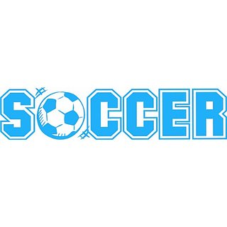 Design with Vinyl Design 296 - Sky Blue Soccer Sign - Removable Vinyl Wall Decal, 12-Inch By 40-Inch, Sky Blue