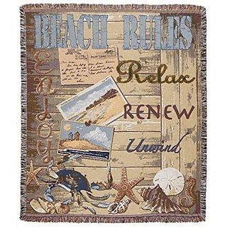 Beach Rules Relax Tapestry Toss Blanket 50