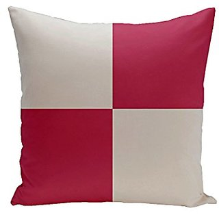 E By Design CPG-N63-Paloma_Lipstick-16 Geometric Cotton Decorative Pillow, 16-Inch, Paloma Lipstick