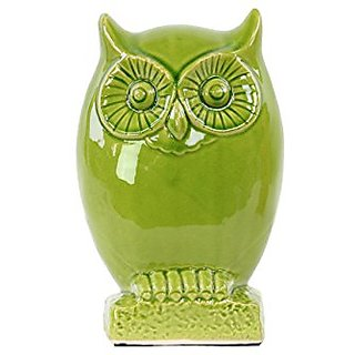 Urban Trends Ceramic Owl Figurine on Base, Large, Gloss Yellow Green