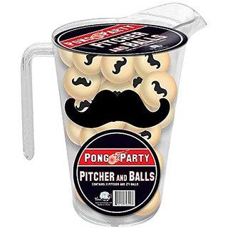 Mustache Pitcher and Balls Pong Set