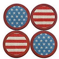 Smathers & Branson Stars And Stripes Needlepoint Coasters Set Of 4 (Coaster-70)