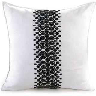 Nanette Lepore Villa Peacock Rhinestone Decorative Pillow, 16 by 16-Inch, White/Black