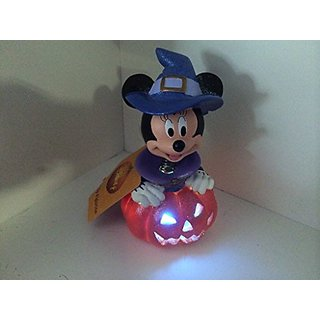 Disney Minnie Mouse As Witch Sparkle Light up Led Halloween Figurine with Spring Bobble Head