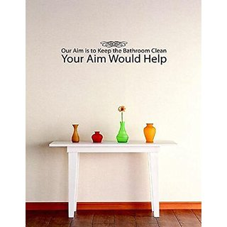 Design with Vinyl 3 C 2020 Decor Item Our Aim is to Keep The Bathroom Clean You Aim Image Quote Wall Decal Sticker, 20 x