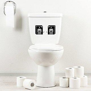 StickAny Bathroom Decal Series 2 Speaker Box Sticker for Toilet Bowl, Bath, Seat (Black)