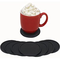 Black Silicone Drink Coasters - Set Of 8. Absorbent Non-Slip Coasters Protect Furniture. Rubber With Raised Lip Catches