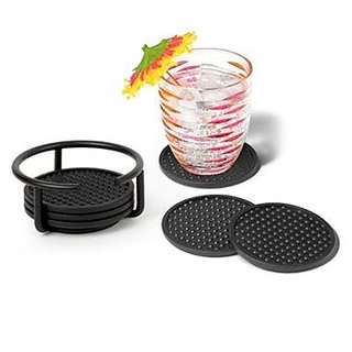 Spectrum Euro Coaster Container Set - Color: Black #43510 - 2 Set of 6 Coasters