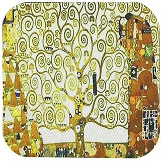 3dRose cst_100417_2 A Photo of Klimt Painting The Tree of Life-Soft Coasters, Set of 8