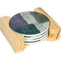 "Trademark Innovations 4"" Diameter Sandstone Leaf Design Coasters (Set Of 4), Multicolor"