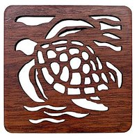 Honu With Waves Laser Cut Wood Coaster Set Of 4