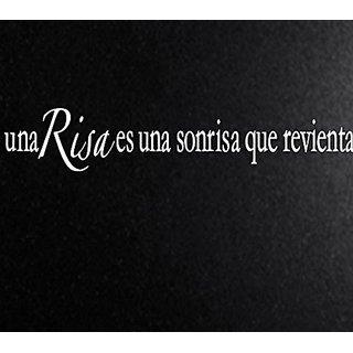 Vinyl Say M.White -33x6-s.0068 Una Risa Es Una Sonrisa Que Revienta Spanish Wall Decals, 33-Inch x 6-Inch, Matte White