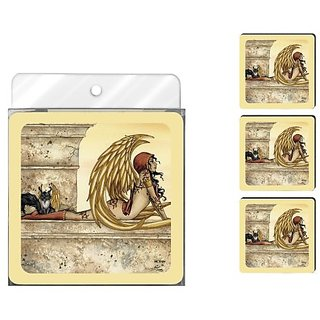 Tree-Free Greetings NC37599 Amy Brown Fantasy 4-Pack Artful Coaster Set, Golden Fairy