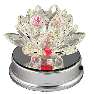 Amlong Crystal 3 Inch Clear Crystal Lotus Flower with Color LED Lighting Base