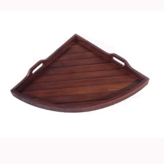 Mediium Corner Solid Teak Serving Amenity Display Tray- 14 Inches X 19 Inches Across- For Bathroom, Kitchen, Patio, Bedr