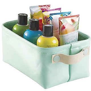 mDesign Vegan Patent Leather Storage Bin for Bathroom, College Dorm, Spa - Small, Mint/Gold