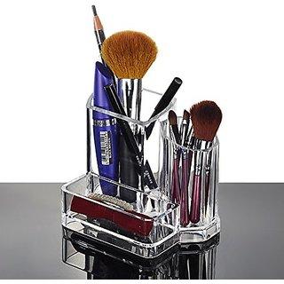 Jmkcoz Acrylic Transparent Makeup Organizer Lipstick Brush Pen Card holder with 3 Compartments