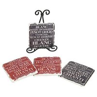 Creative Co-op Shabby Chic Wine Coasters With Metal Easel
