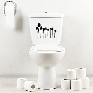 StickAny Bathroom Decal Series 10 Palm Trees Sticker for Toilet Bowl, Bath, Seat (Black)