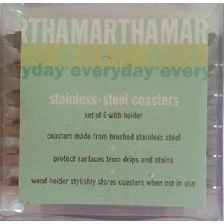 Martha Stewart Stainless-steel Coasters, Set Of 6