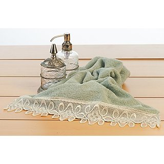 Orion Luxury Home Design 2-pack Hand towel with handmade various laces, 100% Genuine Turkish Cotton, Aquamarine.