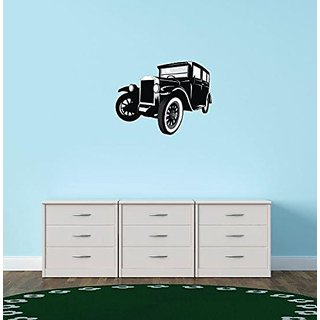 Design with Vinyl 1 Pro 36 Decor Item Old Car Cartoon Vehicle Wall Decal Peel and Stick Sticker Mural, 10 x 15-Inch, Bla