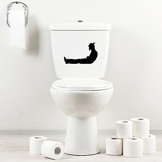 StickAny Bathroom Decal Series Cowboy Resting Sticker for Toilet Bowl, Bath, Seat (Black)