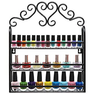 Decorative Black Scrollwork Design 3 Tier Metal Makeup Storage Organizer / Nail Salon Polish Display Rack