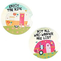 Natural Life Camper Set Of 2 Car Coasters One Size Assorted