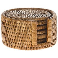 KOUBOO La Jolla Round Rattan Coasters With Holder (Set Of 6), Honey Brown