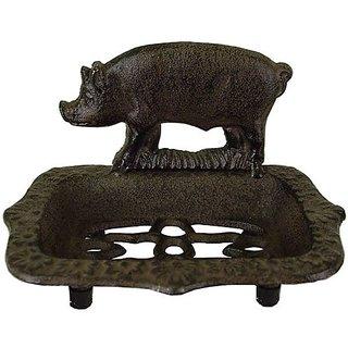 Pig Motif Cast Iron Antique Look Soap Dish