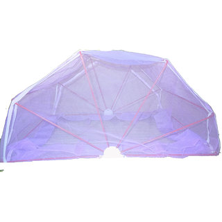 folding mosquito net 5x6ft bedsize double bed purple