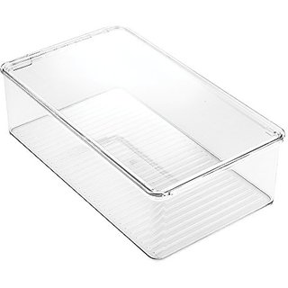 InterDesign Clarity Bathroom Storage Box Organizer for Vitamins, Medicine, Medical, Dental Supplies - Clear