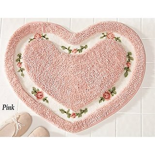 Pretty Pink Floral Rose Heart Shape Bath Accent Rug Floor Mat Decor