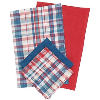 Now Designs Dempsey Plaid Kitchen Towel Set, Cayenne